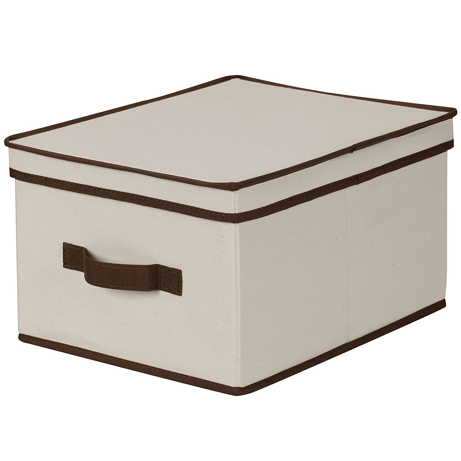 Amazon.com Household Essentials 513 Storage Box with Lid and Handle - Natural Beige Canvas with Brown Trim - Large Home u0026 Kitchen  sc 1 st  Amazon.com & Amazon.com: Household Essentials 513 Storage Box with Lid and Handle ...