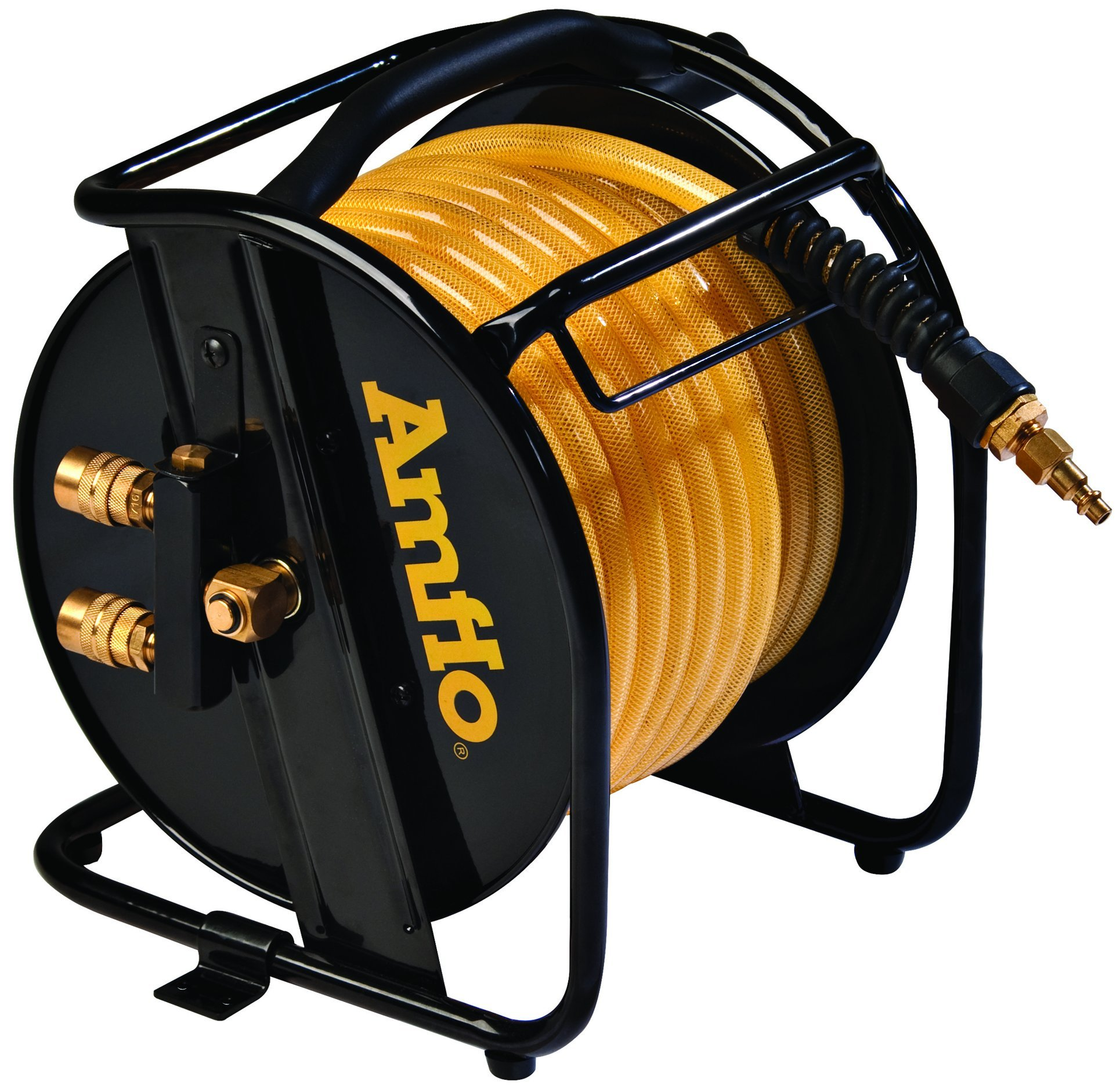Amflo 545HR-RET Manual Hose Reel With 200 PSI 3/8'' x 75'  Polyurethane Gold Air Hose With Dual Output Fittings by Amflo (Image #2)