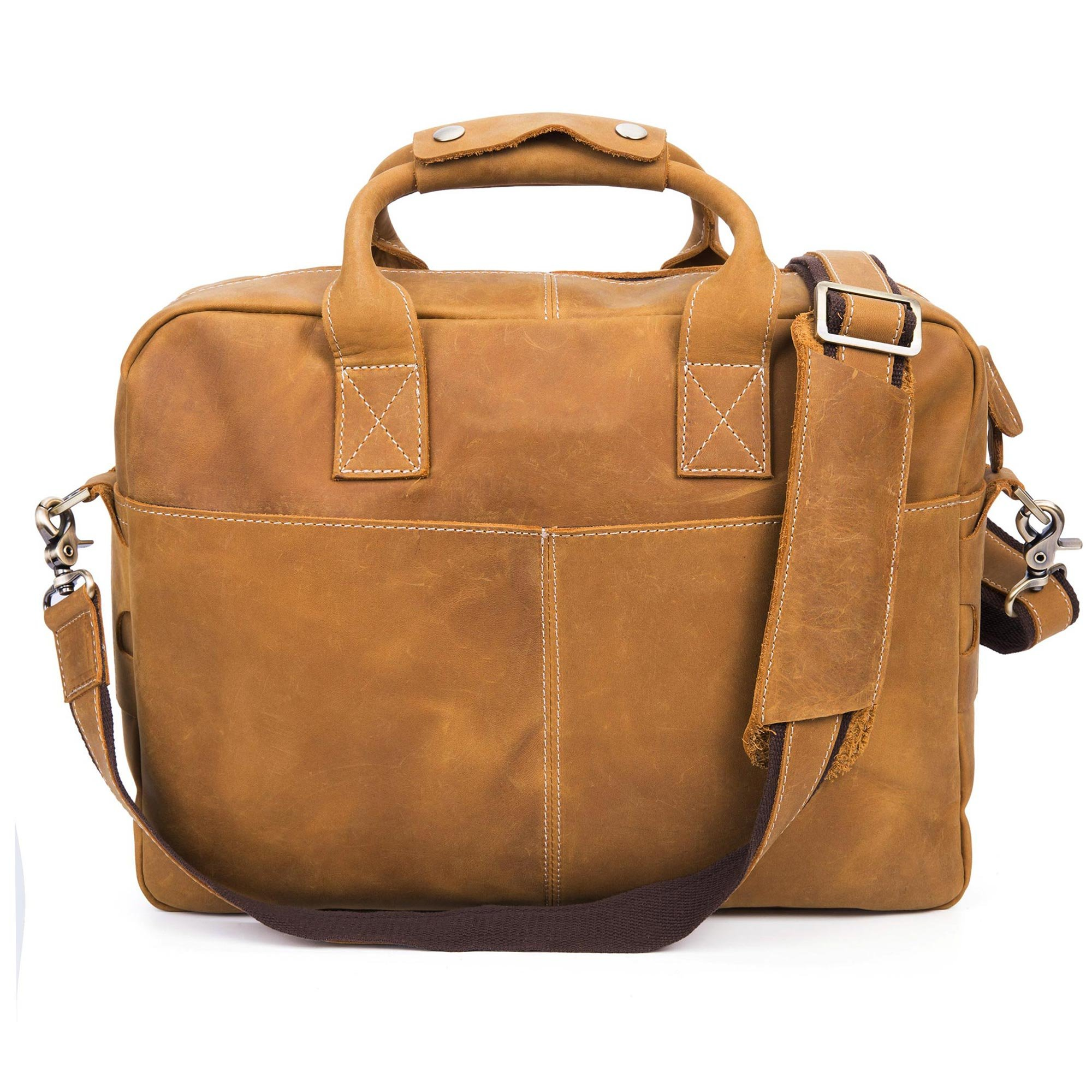 BAIGIO Men's Vintage Genuine Leather Laptop Briefcase 15.6'' Business Shoulder Tote Satchel Bag (Tan) by BAIGIO