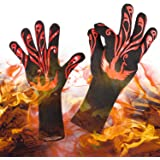 """Yuanming 2018 New Style BBQ Grilling Cooking Gloves, 932°F Heat Resistant Kitchen Oven Mitts Gloves, 1 Pair 14"""" Long for Extra Forearm Protection Top BBQ Accessories (Black/Red)"""
