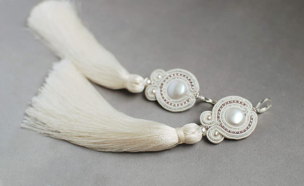 Soutache dangle long pastel soft pink gray earrings with tassels Embroidered beaded crystal tender jewelry Oriental fabric crystal wedding