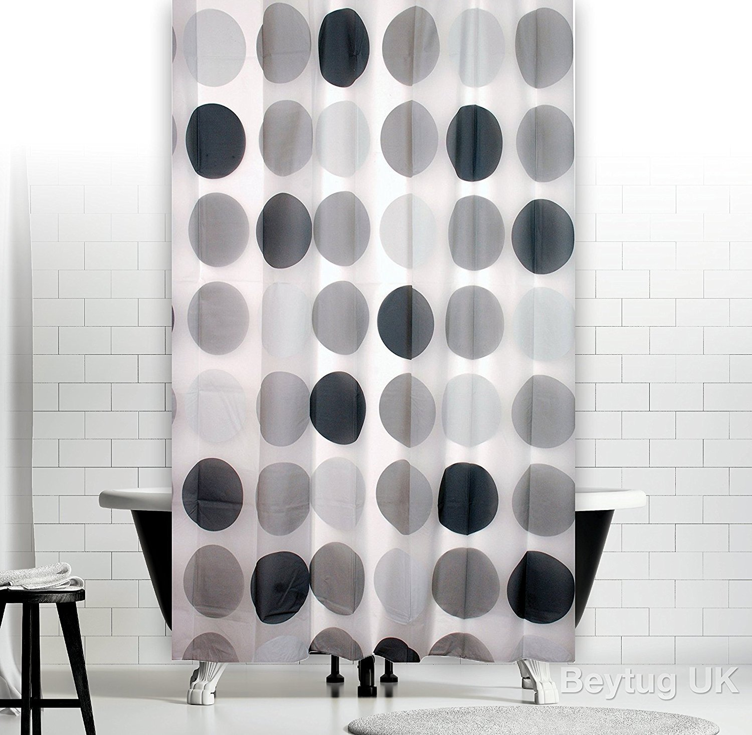 New Modern Bathroom Shower Curtain with Rings 180 x 200 cm Retro ...