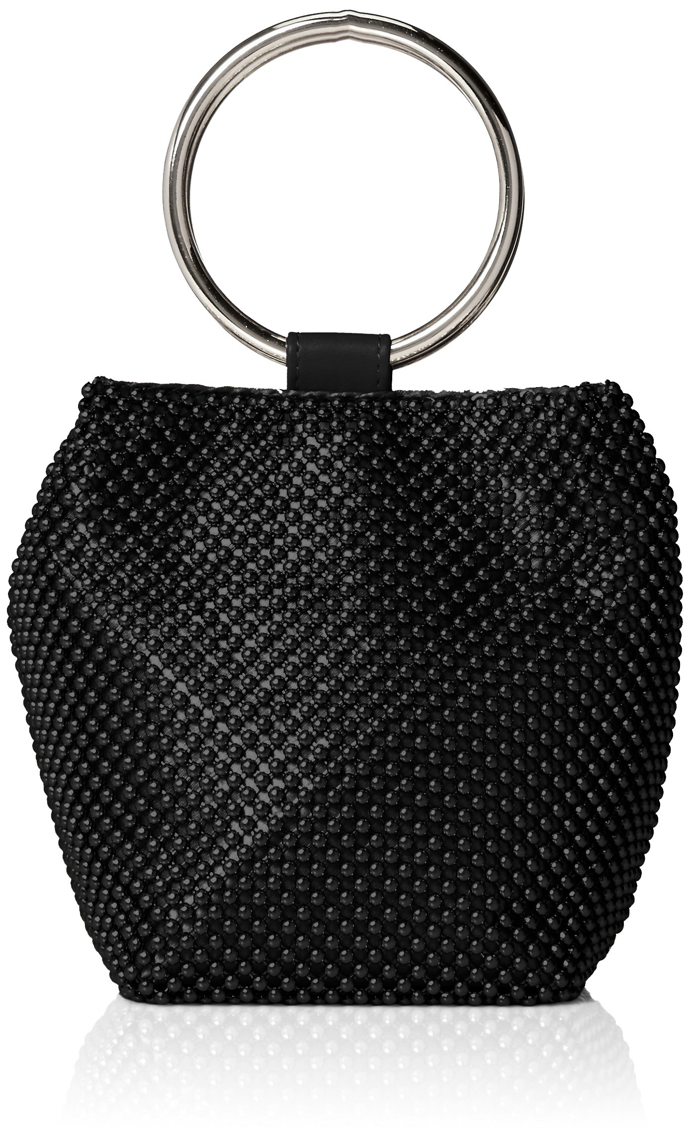 Jessica McClintock Gwen Ball Mesh Ring Wristlet Pouch Clutch, Black