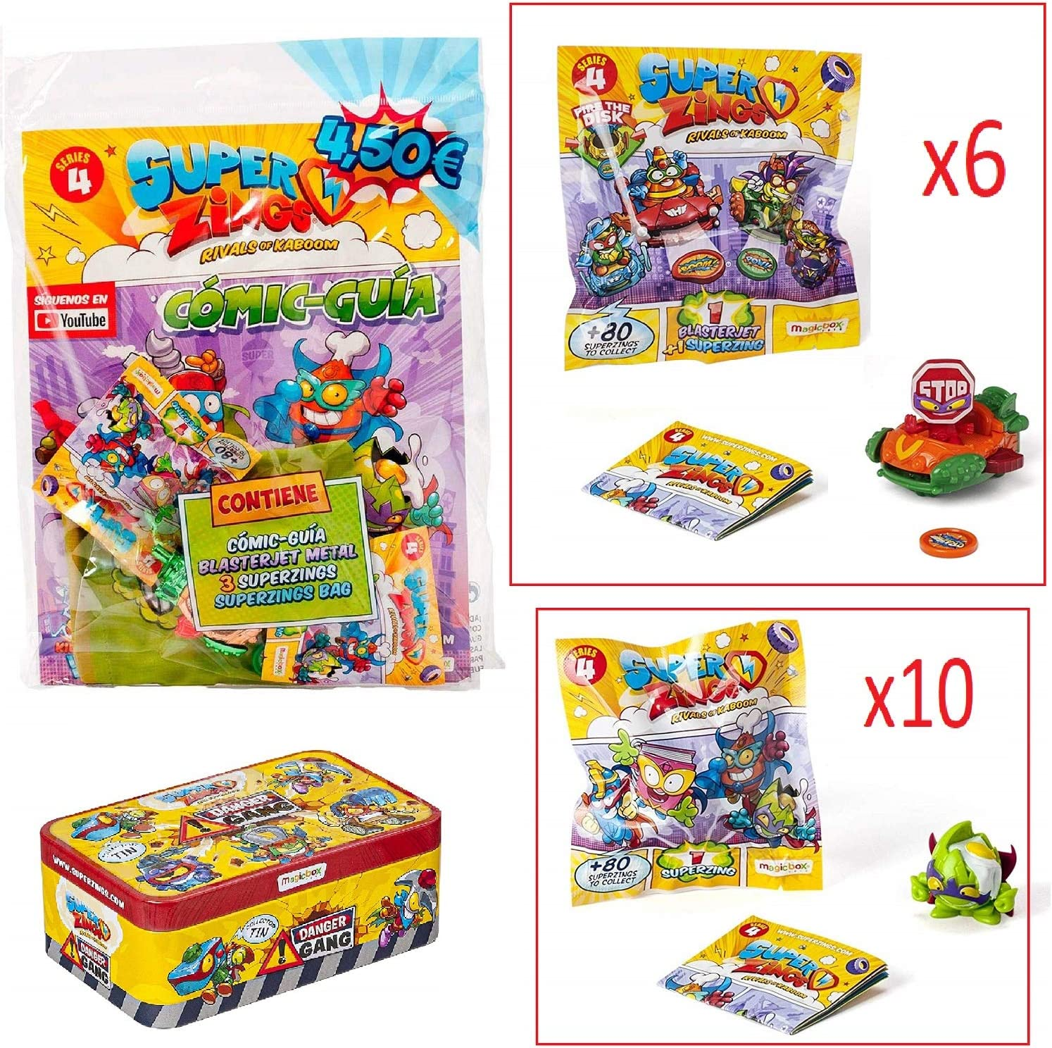 SuperZings Serie 4 - Pack Sorpresa con 18 Sets - 1 Bolsa Starterpack - 10 Sobres One Pack, 6 BlasterJets y 1 Tin Danger Gang con 5 exclusivos Villanos: Amazon.es: Juguetes y juegos