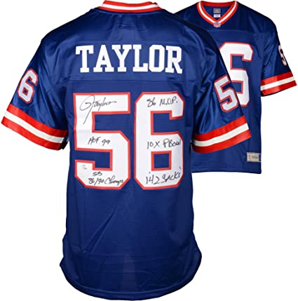 1f0d13bb7 Lawrence Taylor New York Giants Autographed Blue Proline Jersey with  Multiple Inscriptions- #2-