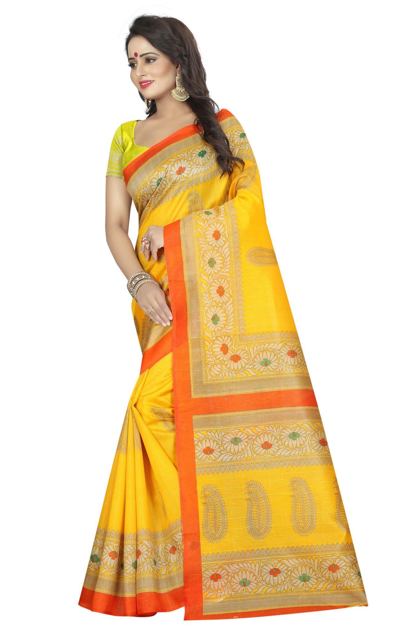 Shonaya Women`S Bhagalpuri Silk Printed Saree with Unstitched Blouse Piece (Yellow) by Shonaya (Image #3)