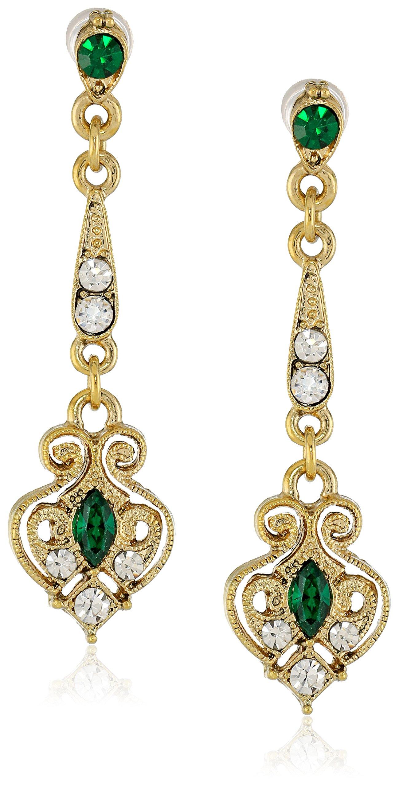 Downton Abbey Gold-Tone Edwardian Filigree Simulated Emerald Drop Earrings