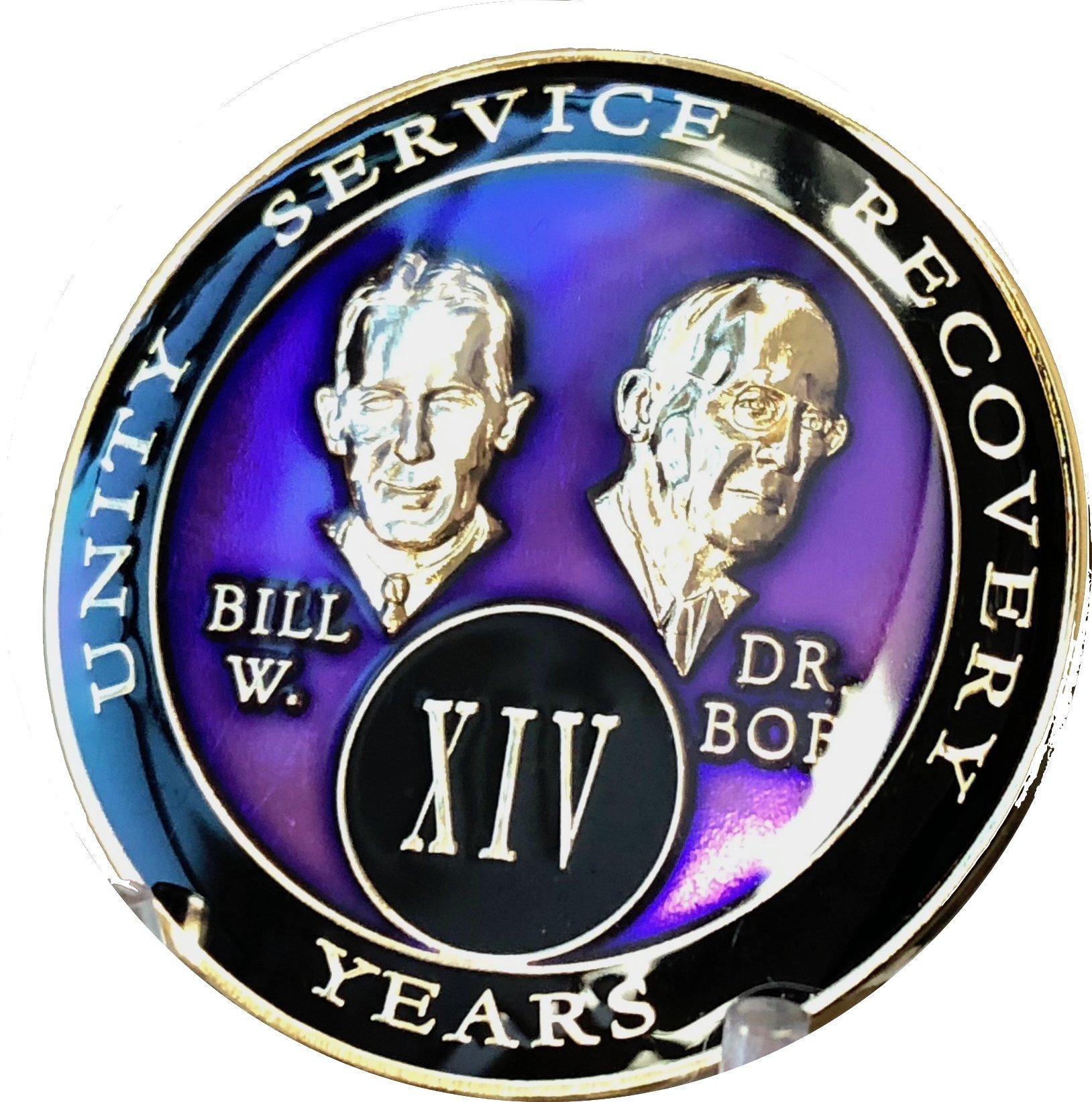 14 year AA Medallion Purple Tri-Plate Founders Bill & Bob Chip XIV