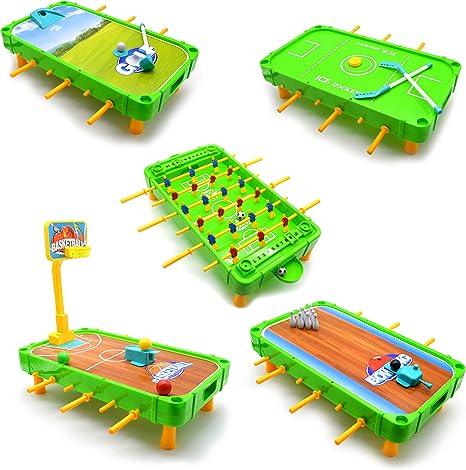 Jimmys Toys 5 en 1, juego de mesa de fútbol, baloncesto, golf, bolos, hockey, mini juegos de arcade para niños, mini juego de arcade de fútbol y juegos para niños: Amazon.es: Deportes
