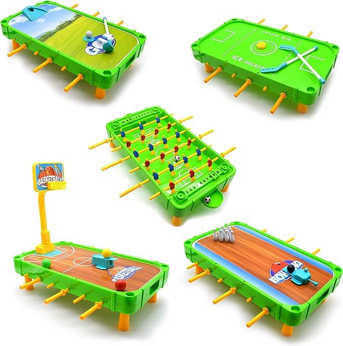 Jimmys Toys 5 en 1, juego de mesa de fútbol, baloncesto, golf ...