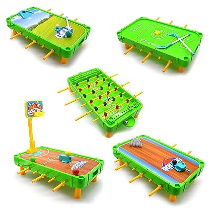Amazon.com: Jimmys Toys 5 Juegos en 1, Foosball, Baloncesto ...