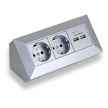 Eck-Steckdose Aufbaumontage 2x Schuko, 2x USB für Küche, Büro, Werkstatt.  Steckdosenleiste ideal für Küchen-Arbeitsplatte, Aufbausteckdose oder ...