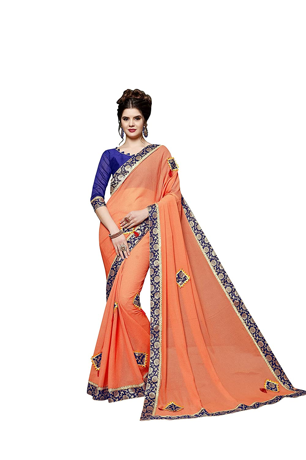 Naari Vastram Women's Georgette Embroidered Saree (KITES_FANTA_Orange_Free Size)