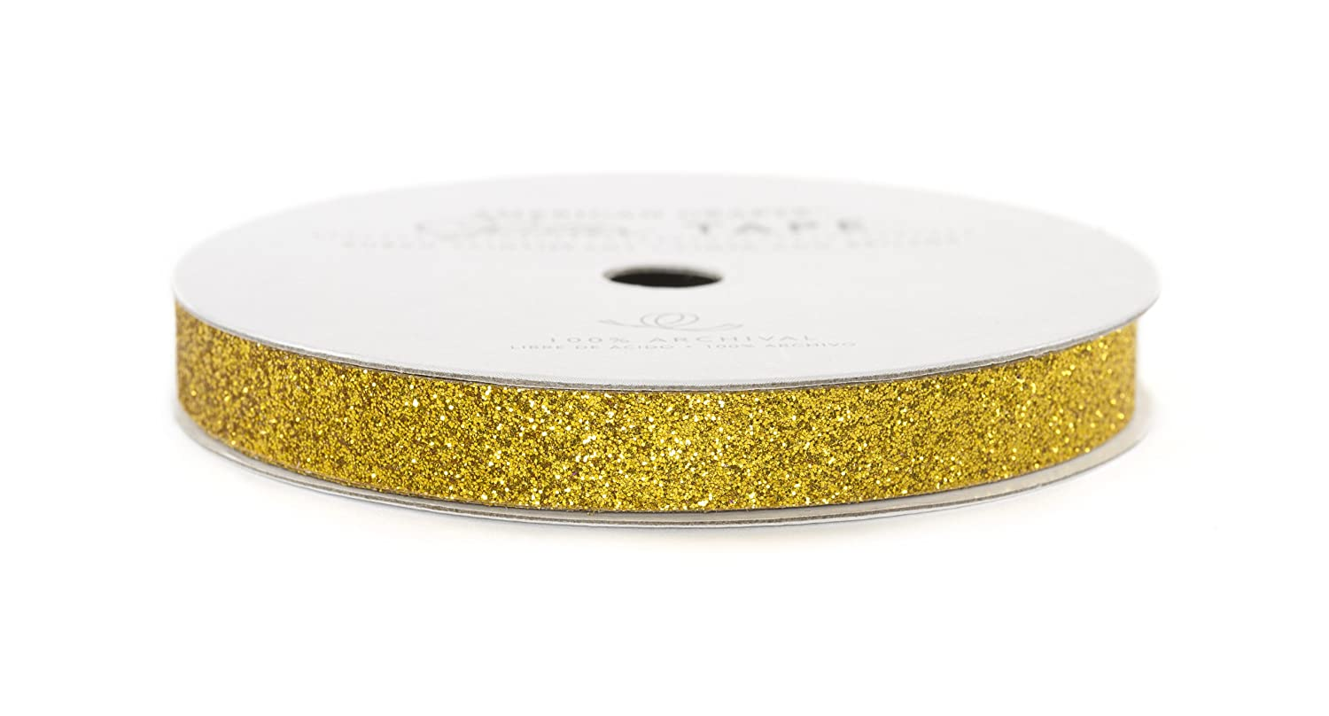 American Crafts Glitter Tape, Gold, 3/8-Inch Inc. 96039
