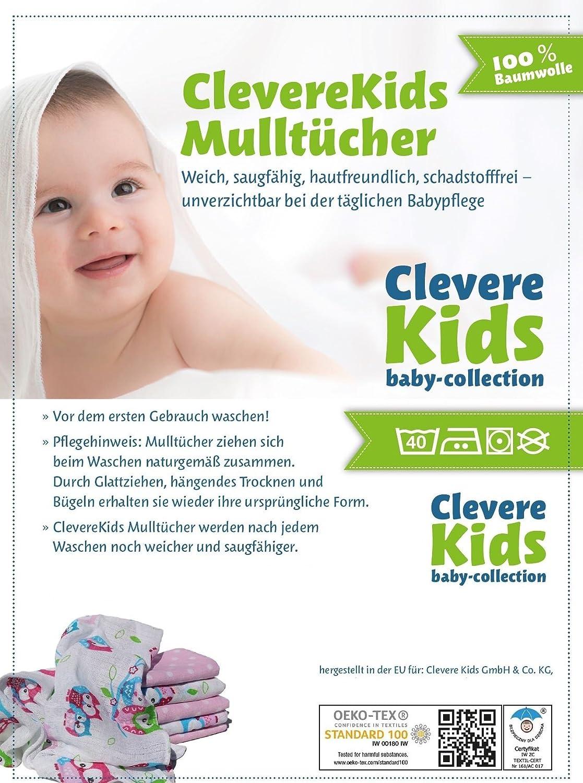 Schaf /& Co Clevere Kids Mullt/ücher B/ärchen Set 6 St/ück Spuckt/ücher Mullwindeln B/ärchen fuchsia