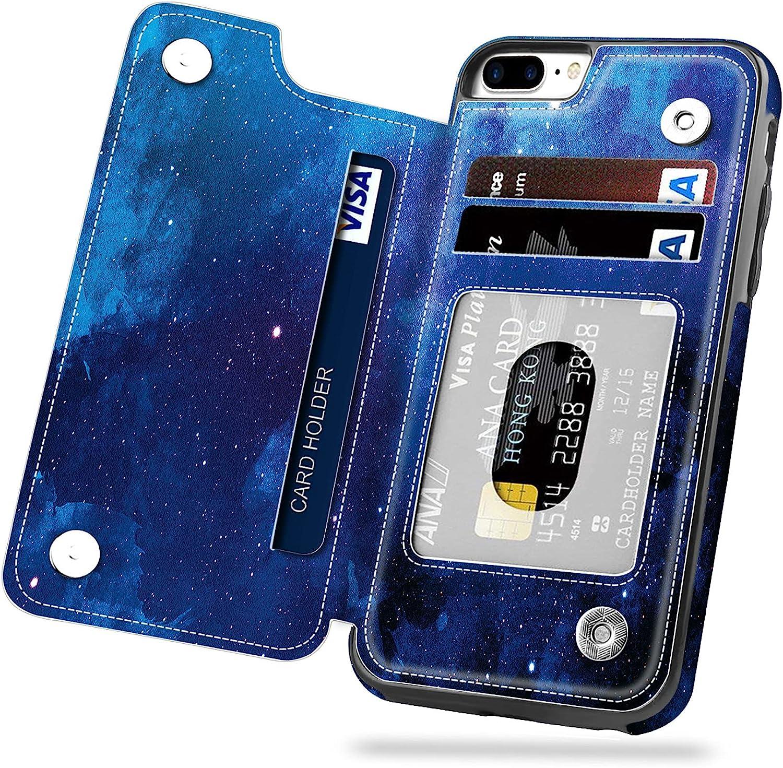 iPhone 7 Plus Case, iPhone 8 Plus Case, Hoofur Slim Fit Premium Leather Wallet Casae Card Slots Shockproof Folio Flip Protective Defender Shell for Apple iPhone 7 Plus (5.5 Inch) (Starry Sky)