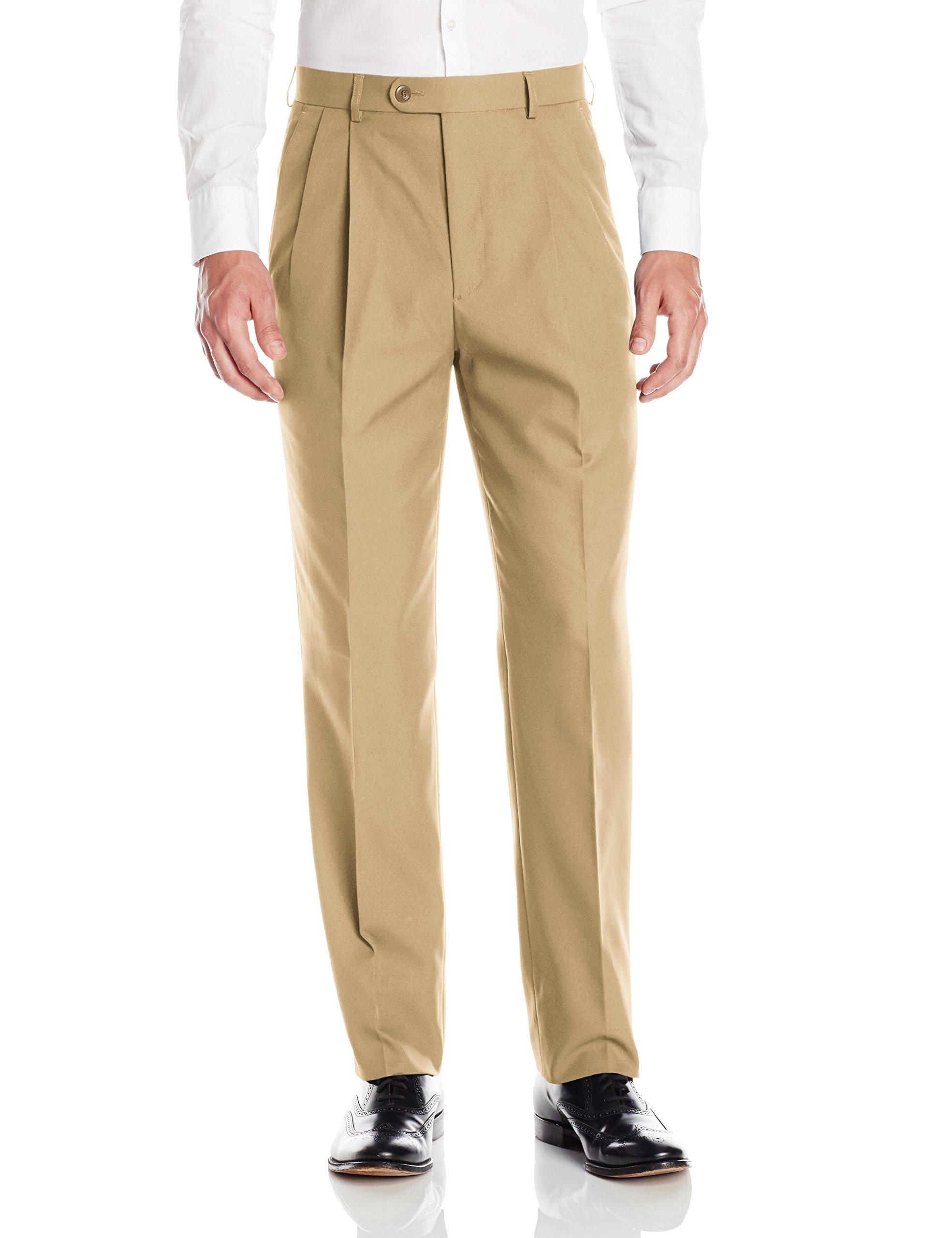 Linea Naturale Men's Pleated Washable Microfiber Twill Trouser, Camel, 35W