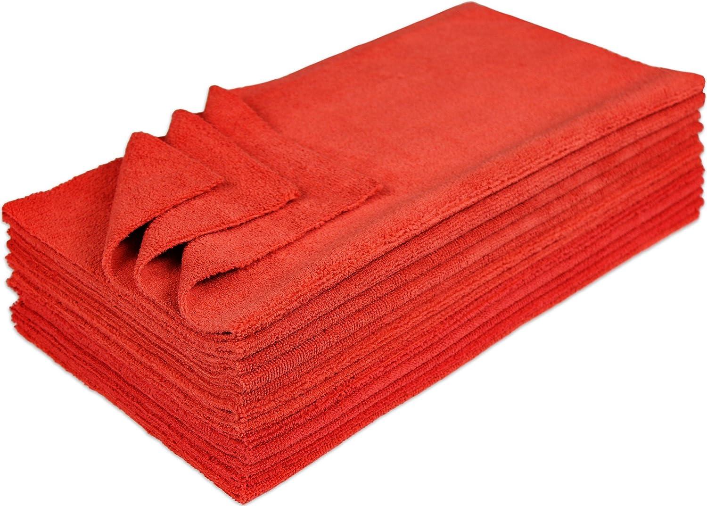 Blue Eurow Microfiber 16 x 16in 300 GSM Ultrasonic Cut Cleaning Towels 12Pk