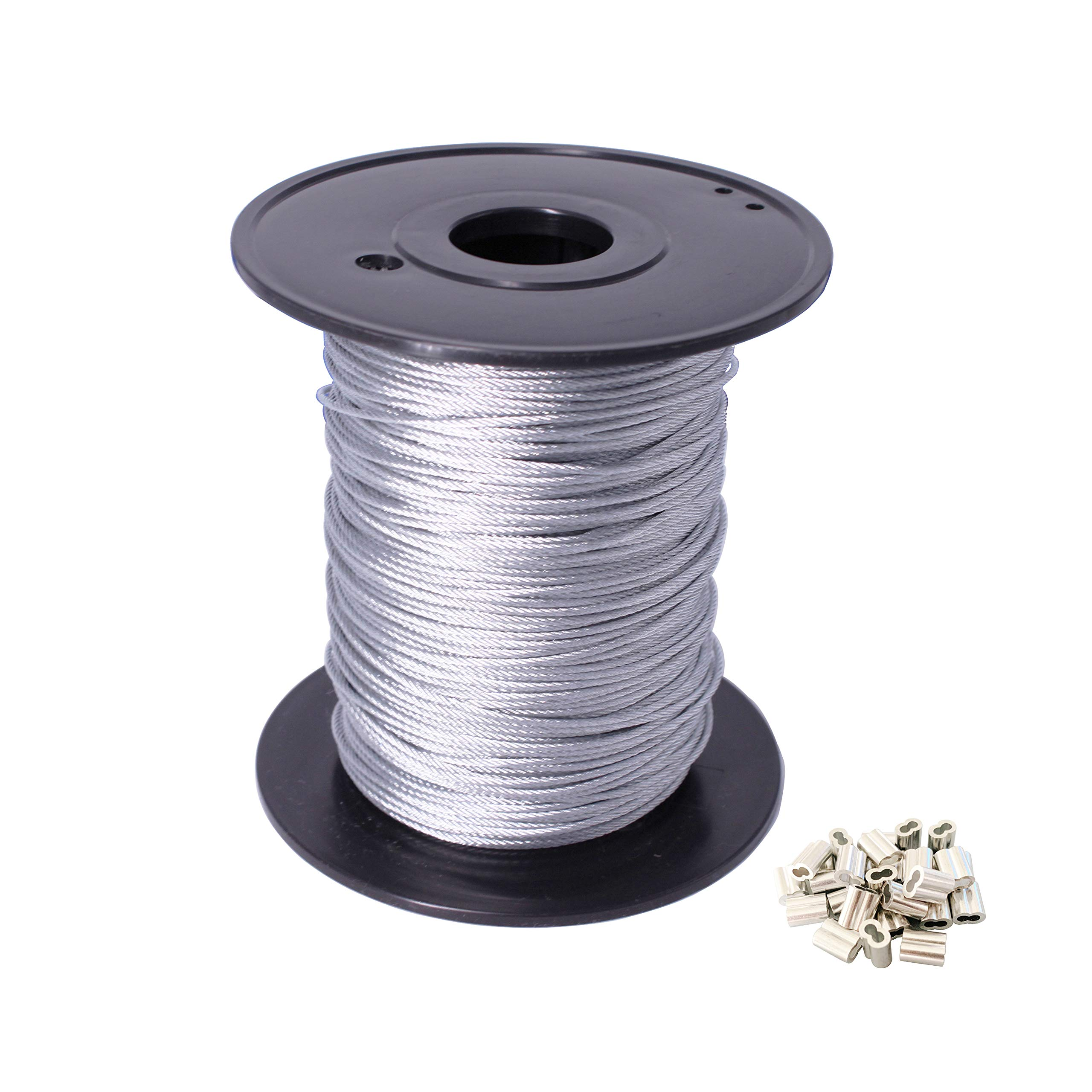 Bryne Galvanized 328' Length,Steel Wire Rope 1/16'' Steel Cable and 30 Pieces Aluminum Crimping Loop Sleeves, 7x7 Strand Core, 480 lbs Breaking Strength