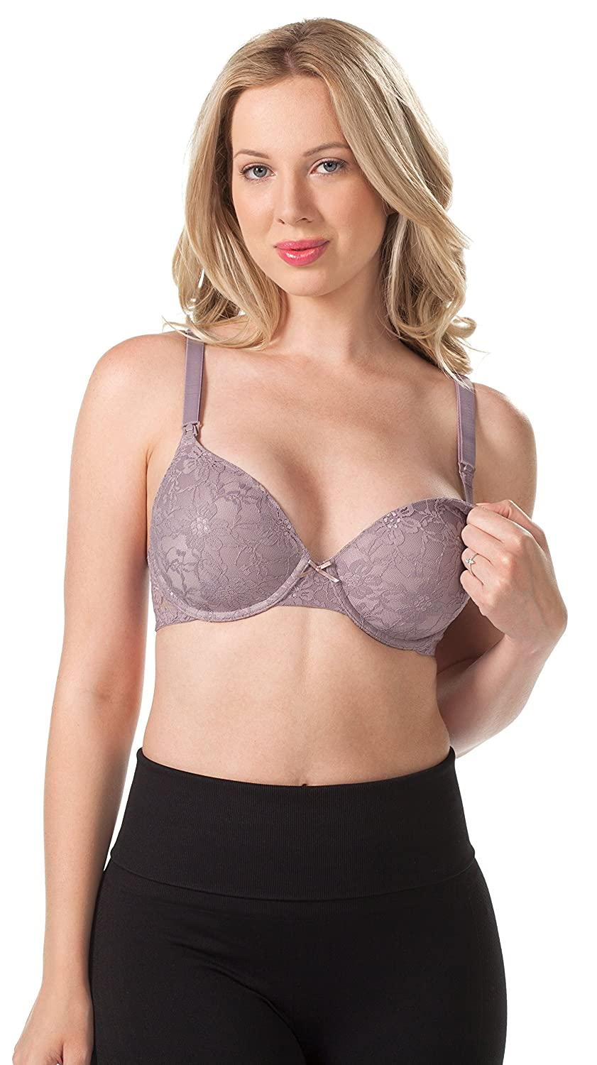 1e2d8d063 All-day comfort in a t-shirt bra. Sexy lace cups and blush bow. Easy  one-hand nursing clasp. Fold-down cups for simple breastfeeding