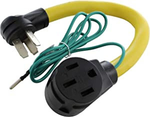 AC WORKS RV/EV 14-50R 50-Amp Adapter (3-Prong 50A Range Outlet to 50A RV/EV)