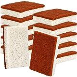 Natural Plant Based Scrub Sponge 12 Pack, Palm Fiber Scrubbing Sponge with Non Scratch Biodegradable Compostable Sponges,Durable No Smell Dishwashing Kitchen Scrubber