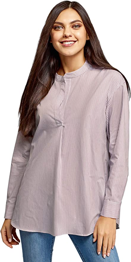 oodji Ultra Mujer Camisa Hoglada con Cuello Mao