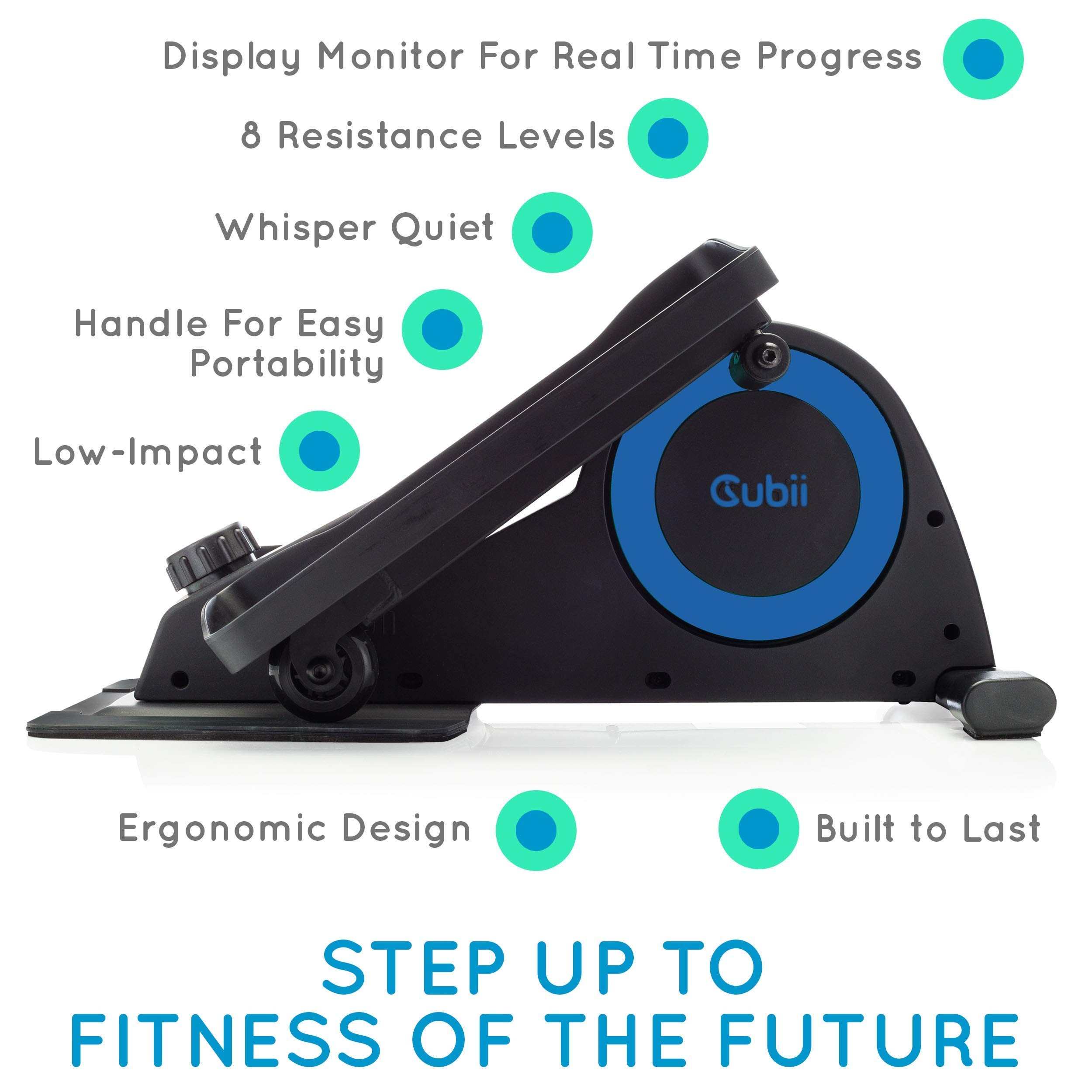 Cubii Jr: Desk Elliptical with Built in Display Monitor, Easy Assembly, Quiet & Compact, Adjustable Resistance (Royal Blue) (Renewed) by Cubii (Image #2)