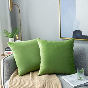NANPIPER Decorations Velvet Soft Decorative Square Throw Pillow Sofa Cover Cushion Covers Pillowcase, Home Decor for Couch and Bed 18x18 Inch/45x45 cm, Apple Green, Set of 2