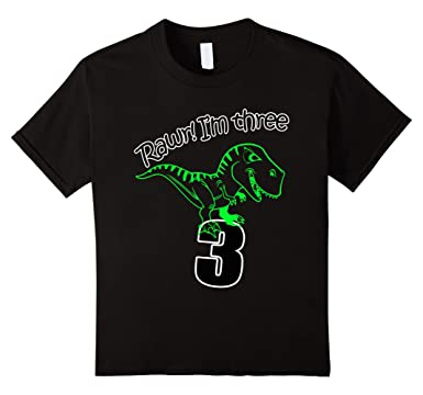 Kids 3rd Birthday Dinosaur T Shirt For 3 Year Old Boys 4 Black