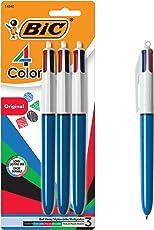 Bic Bolígrafo de 4 Colores, Punto Medio, Paquete de 3, Tinta de Colores Surtidos (MMP31-ASST)