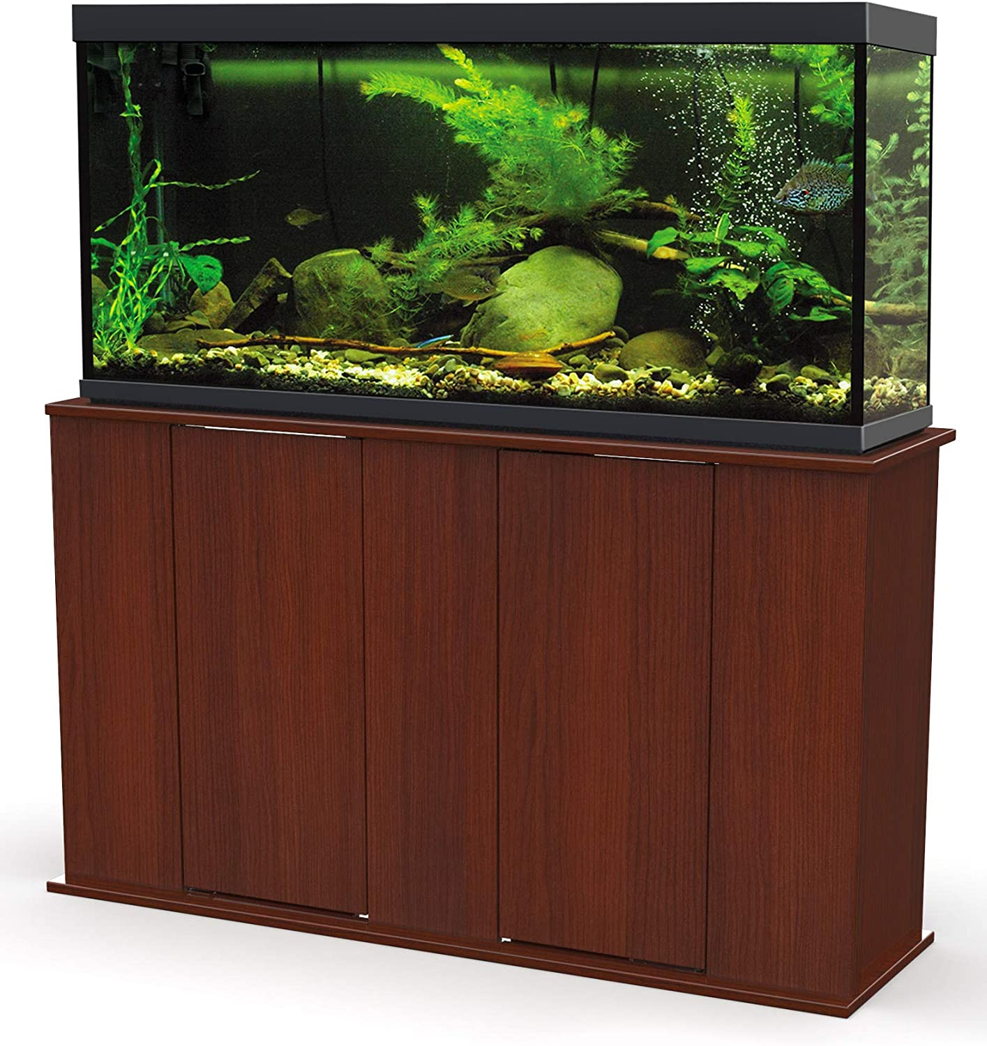 Deluxe 55Gallon Aquarium Stand Storage Cabinet Fish Tank Holder Cherry Brown