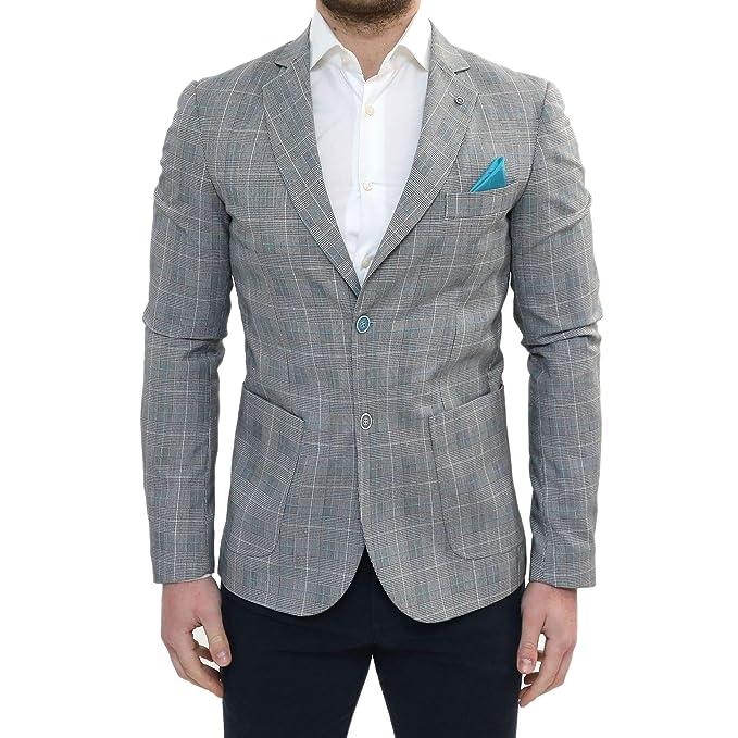 e2e8a930833e Giacca Uomo Elegante Primaverile Sartoriale Slim Fit Classica Grigia a  Quadri con Pochette Azzurra Taschino da