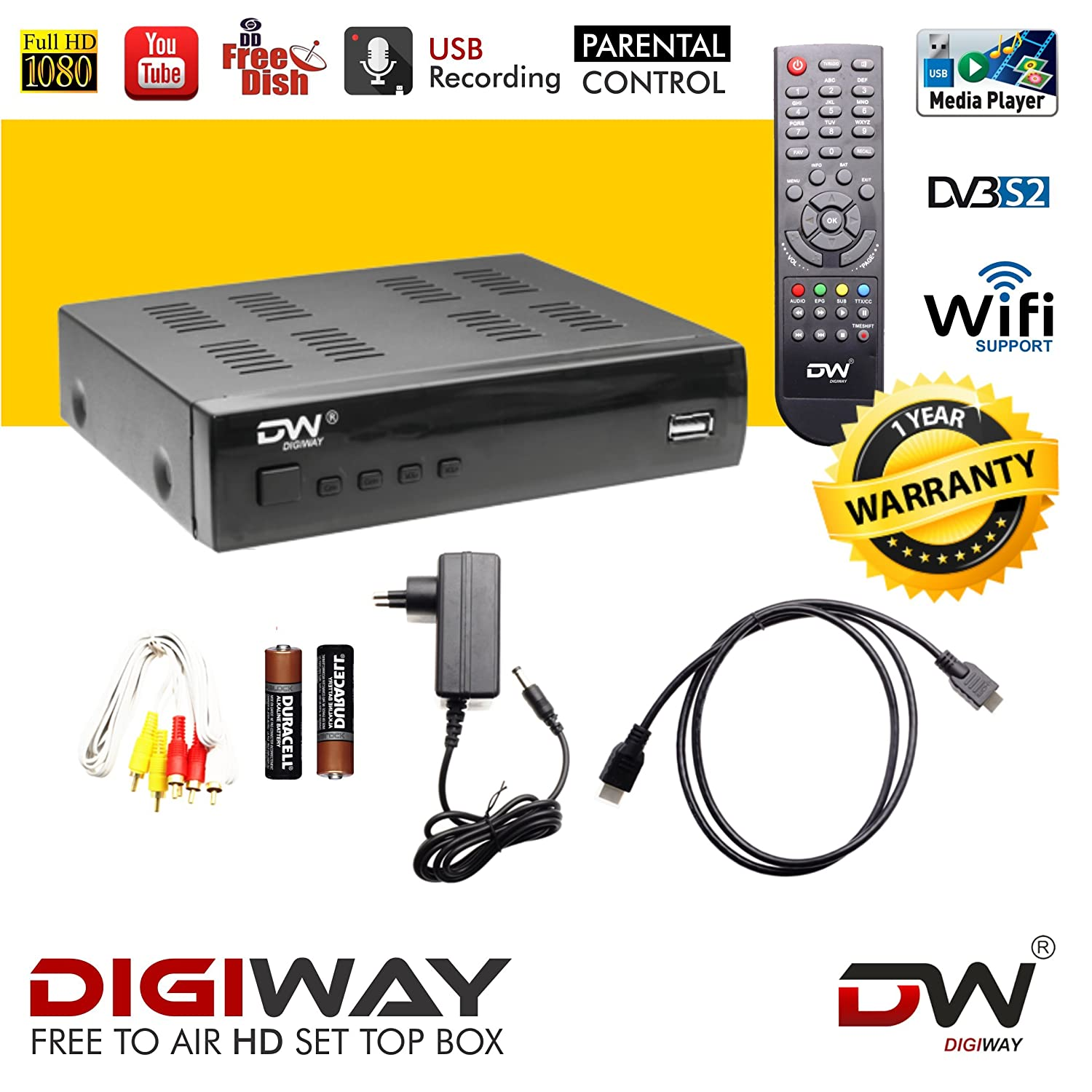 DIGIWAY Free to Air DD Direct DTH Set Top Box with HDMI Cable(DVB-S2,  Mpeg-4, Full HD with 2 USB Ports and Wi-Fi Dongle Supported)
