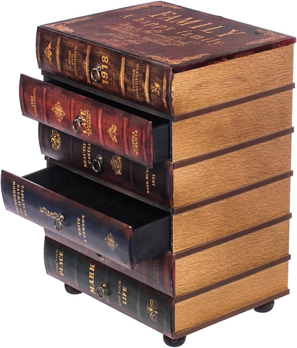 Teeschrank Holz Telefontisch Flurkommode Deko HY1F044 Kommode Holz Kleinm/öbel Kommode schweres Regal im Buchlook Antikoptik 6 Schubladen Tisch 64 cm hoch 36 cm tief jedes Buch ist eine Schublade Hochwertig Maritim im Vintage Shaby Look