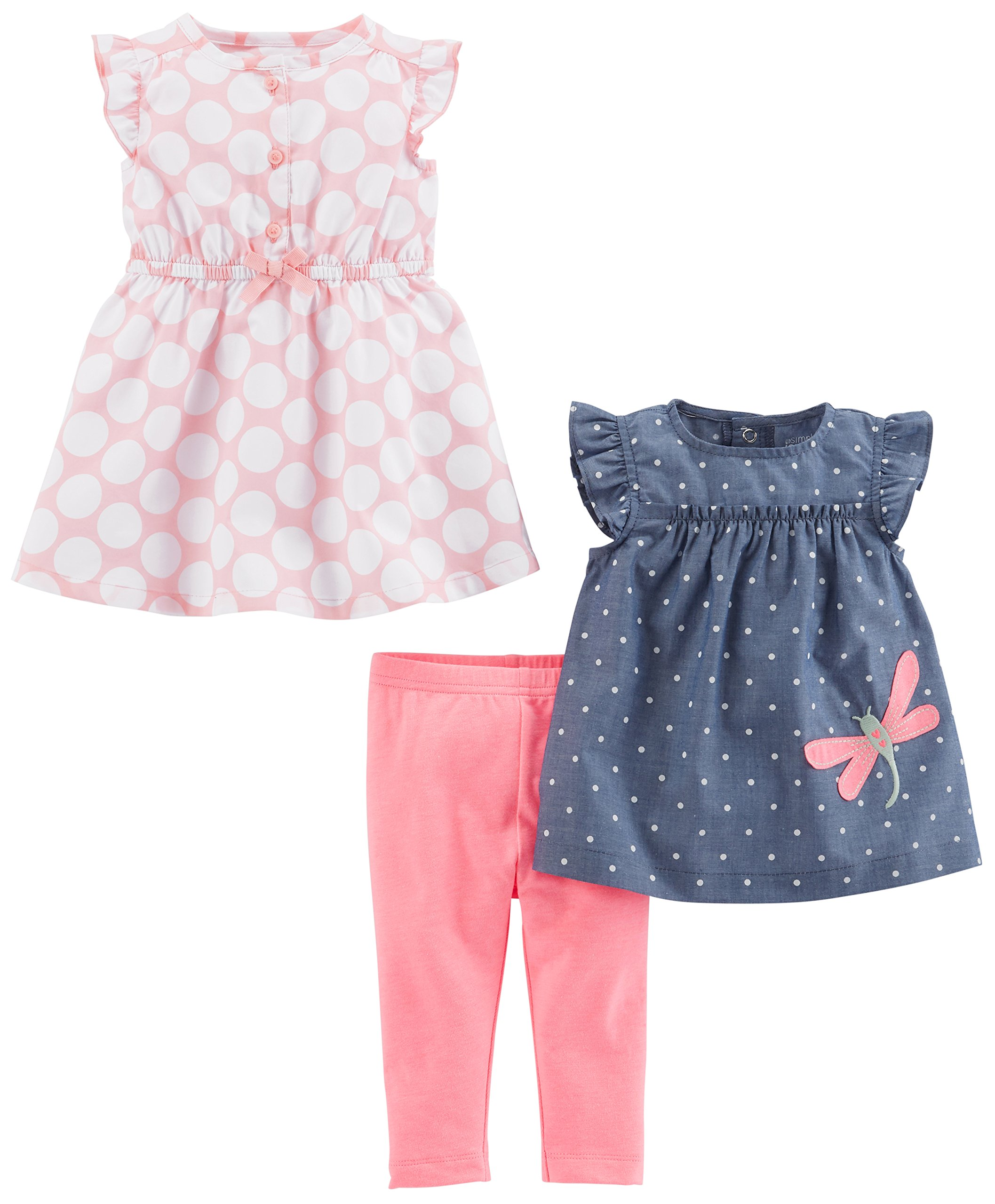 Simple Joys by Carter's Baby Girls' 3-Piece Playwear Set, Pink Dot/Chambray, 6-9 Months