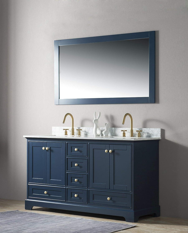 UrbanFurnishing.net – Jocelyn 60-Inch 60 Bathroom Sink Vanity Set with White Italian Carrara Marble Top – Blue