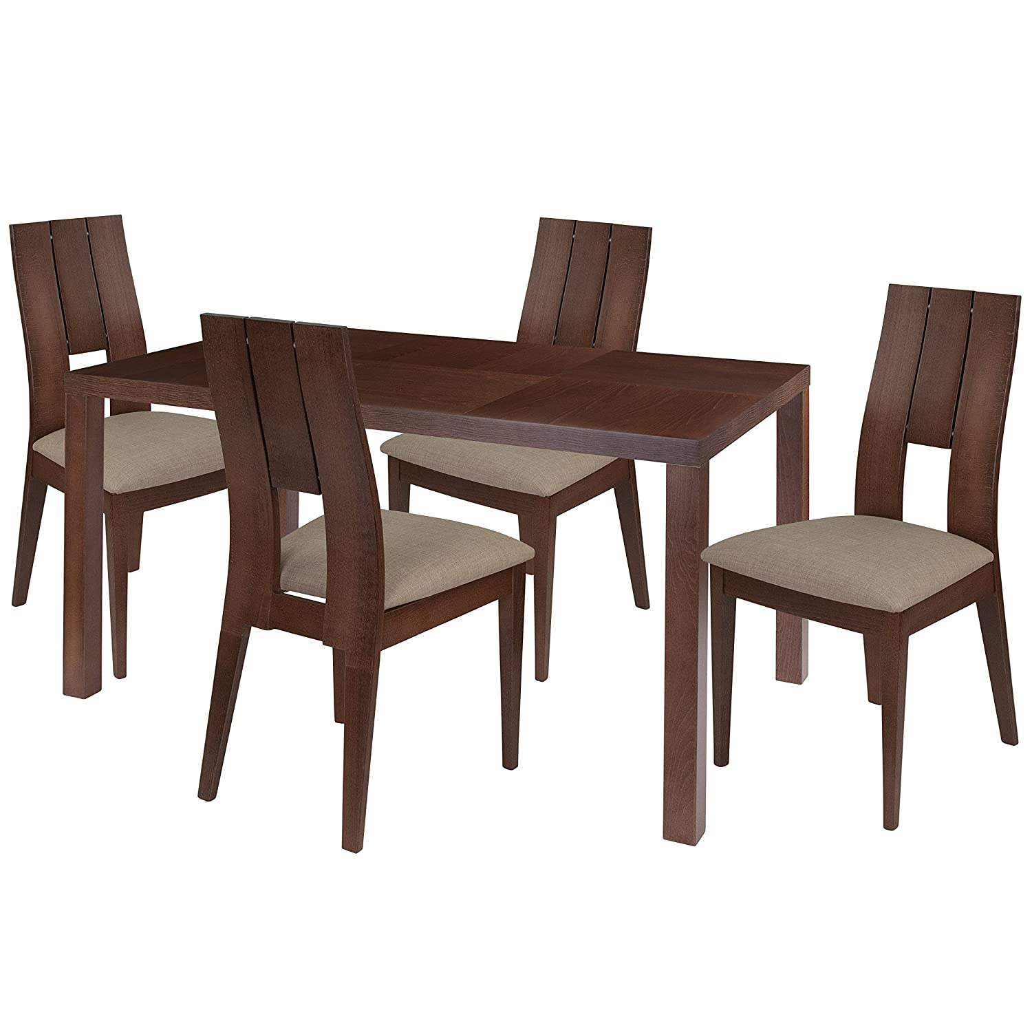 Amazon com flash furniture dalston 5 piece walnut wood dining table set with curved slat keyhole back wood dining chairs padded seats walnut beechwood