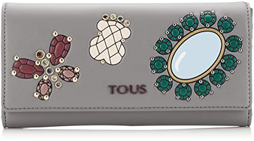 Tous Billetera Mediana Teatime Jewel, Cartera para Mujer, Multicolor (Gris/Vino)