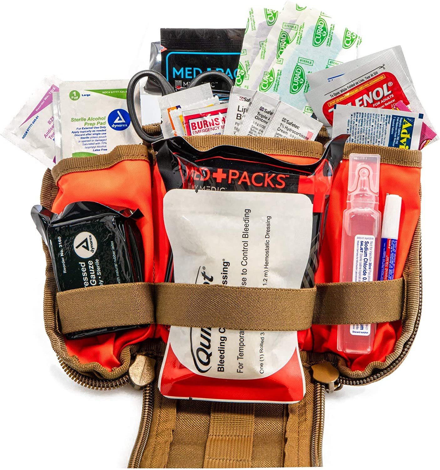 Image of the MyMedic first-aid kit bag with various emergency stuff in it.