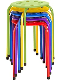 "Norwood Commercial Furniture NOR-1101AC-SO Plastic Stack Stools, 17.75"" Height, 11.75"" Width, 11.75"" Length, Assorted Colors"