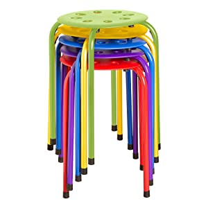 "Norwood Commercial Furniture NOR-1101AC-SO Plastic Stack Stools, 17.75"" Height, 11.75"" Width, 11.75"" Length, Assorted Colors (Pack of 5)"