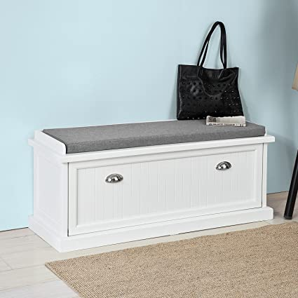 Brilliant Haotian Fsr41 W White Storage Bench With Drawers Padded Seat Cushion Hallway Bench Shoe Cabinet Shoe Bench Dailytribune Chair Design For Home Dailytribuneorg