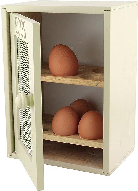 Deco 79 Cocina de Madera 12 Soporte para Huevos de Almacenamiento r/ústico Crema bandejas Cesta de Armario de
