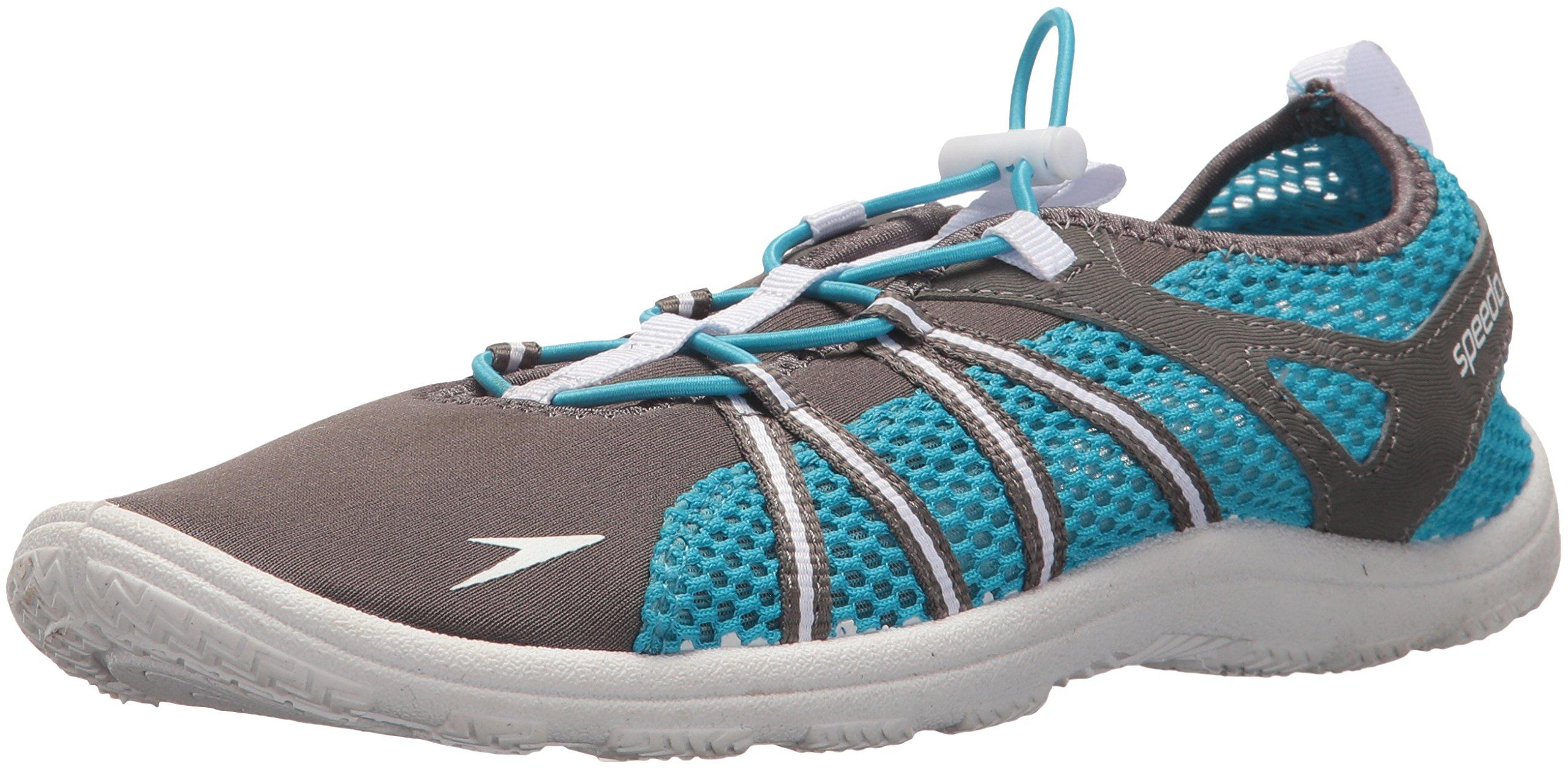 Speedo Women's Seaside Lace Water Shoe, Dark Gull Grey/White, 7 C/D US