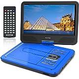 """WONNIE 10,5"""" Lecteur DVD Portable avec Un Écran Rotatif 270°, Carte SD et Prise USB avec Charge directe Formats/RMVB/AVI/MP3/JPEG, Parfait pour Enfants (Bleu)"""