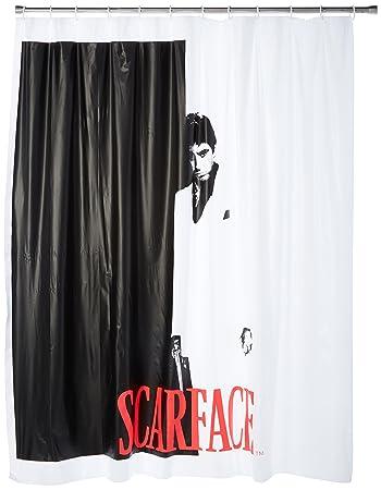 black and white shower curtain set. JPI Black White Red Scarface  Tony Montana Shower Curtain with 12 Hooks Set Amazon com