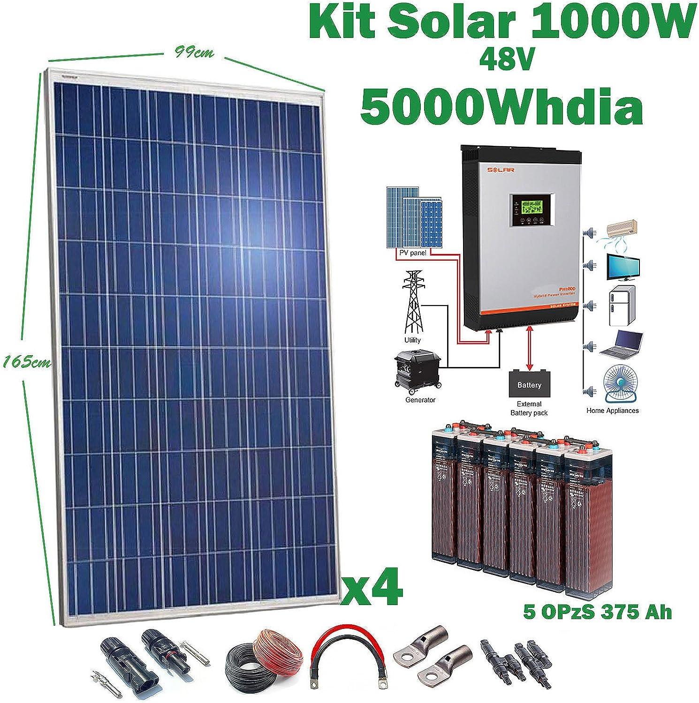 Kit Solar 48v 1000w/5000w día Inversor Multifunción 5kva Regulador ...