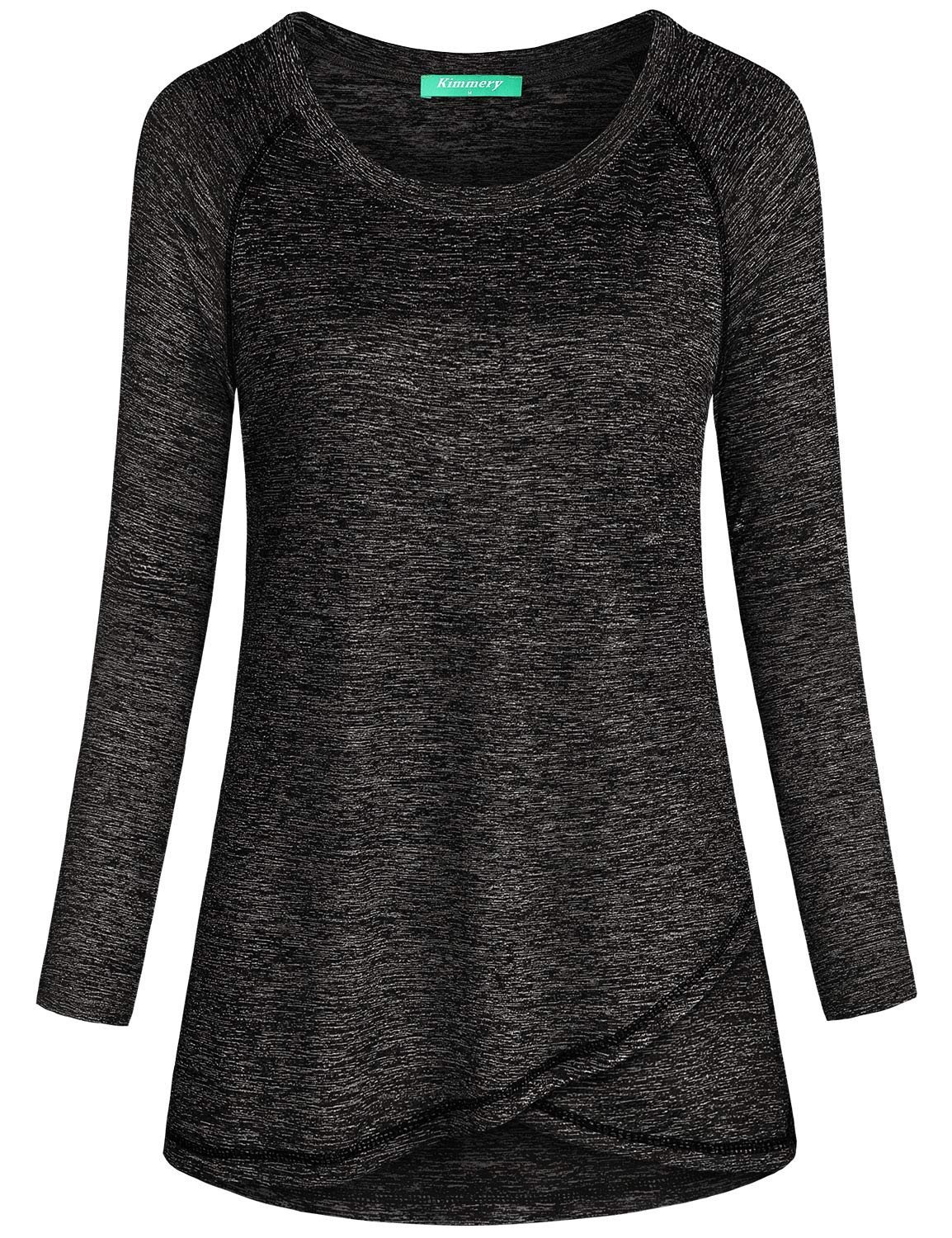 Kimmery Long Sleeve T Shirt Women, Black Melange Scoop Neck Flattering Drape Tunic Feminine Fit Cool Dri Tech Activewear Ventilated Cross Training Gym Yoga Football Indoors Outdoors Casual Tops Medium
