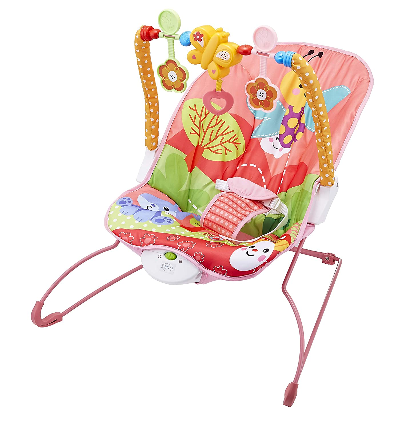 Teeny Fish Baby Bouncer Rocker with Soothing Vibrations and Musical Box Pink